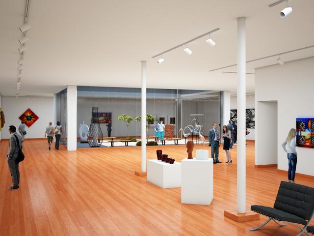 Main interior rendering of museum design