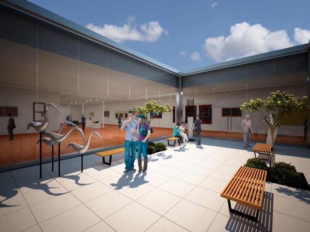 Main courtyard rendering of museum design