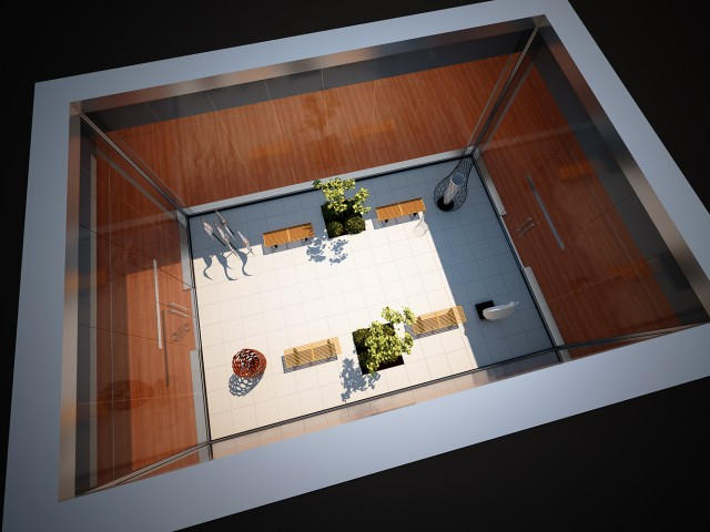 Overhead rendering of courtyard in museum design