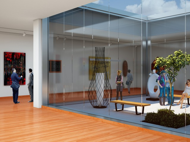 Detail rendering of interior and exterior of museum design