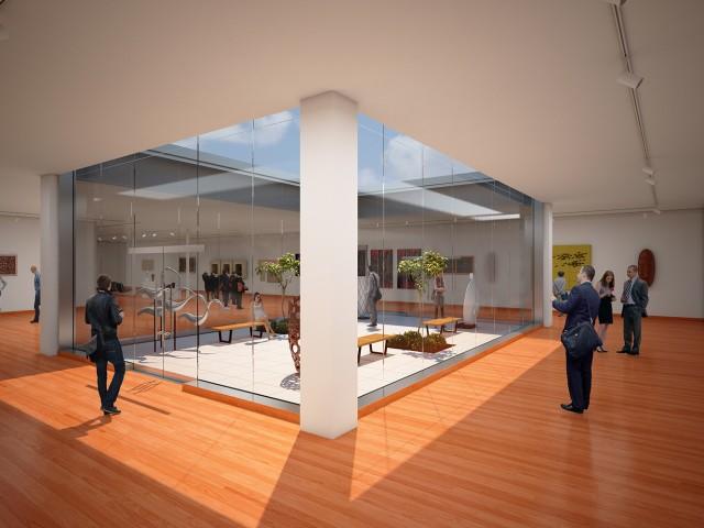 North side rendering of courtyard in museum design